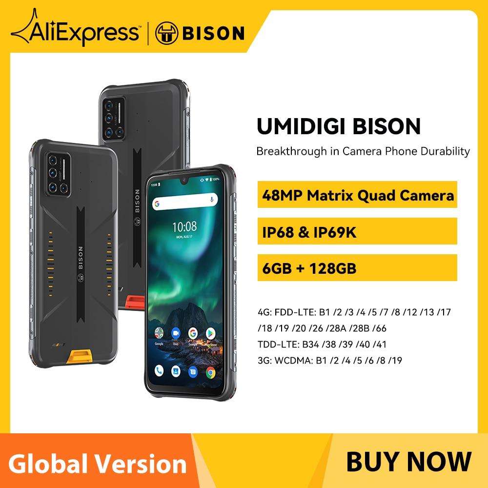 UMIDIGI BISON IP68/IP69K Waterproof Smartphone NFC Rugged Phone 6GB Ram 128GB 48MP Matrix Quad Camera 6.3