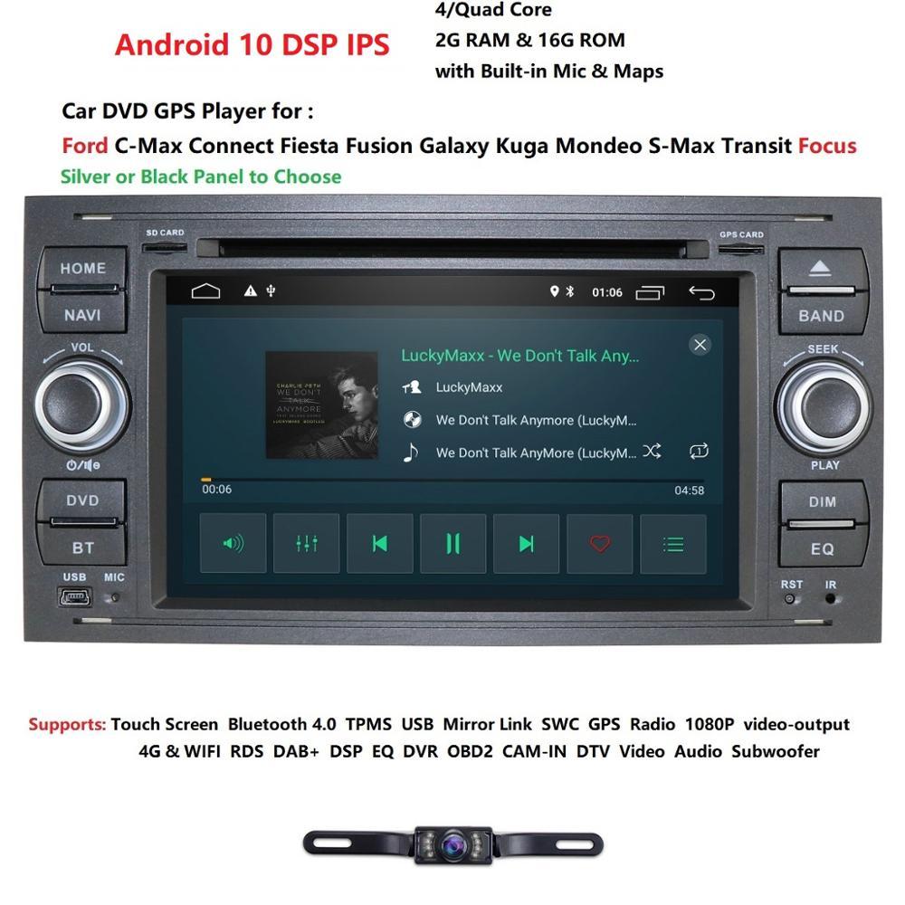 Чистый Android10.0 автомобильный DVD GPS Navi плеер стерео радио аудио 4G для Ford Focus 2 Mondeo S C Max Fiesta Galaxy подключение с камерой