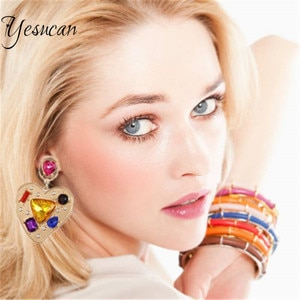 Cute Summer Sweet Color Crystal Glass Dangle Drop Earrings for Women INS Pink Love Heart-Shape Shiny Rhinestone Piercing Earring