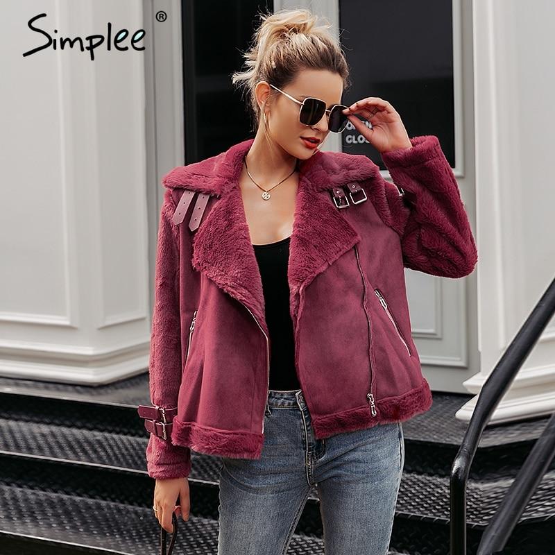 Simplee Faux leather suede lamb fur jacket coat women Moto zipper suede jacket female overcoat Casual turn-down winter coat 2017