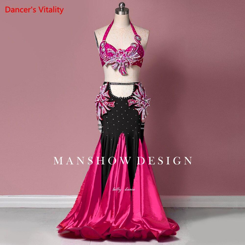 الرقص الشرقي مجموعة الإناث الراقية المنافسة الصدرية الملابس امرأة جديدة عالية الخصر مثير مزدوجة انقسام الأداء تنورة دعوى