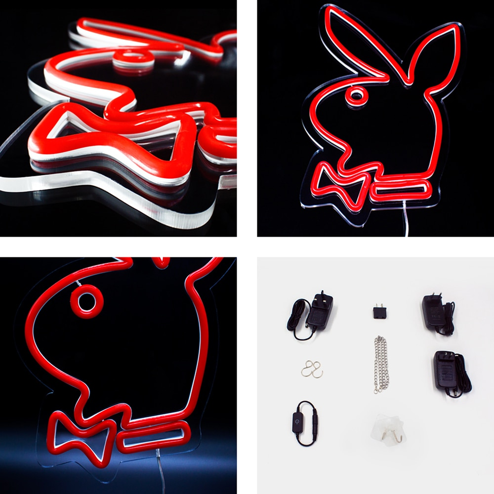 Custom Playboy Bunny LED Neon Sign Light 12V Best Set Acrylic Neon Sign Home Room Decoration Ins Party Gift For Friend enlarge