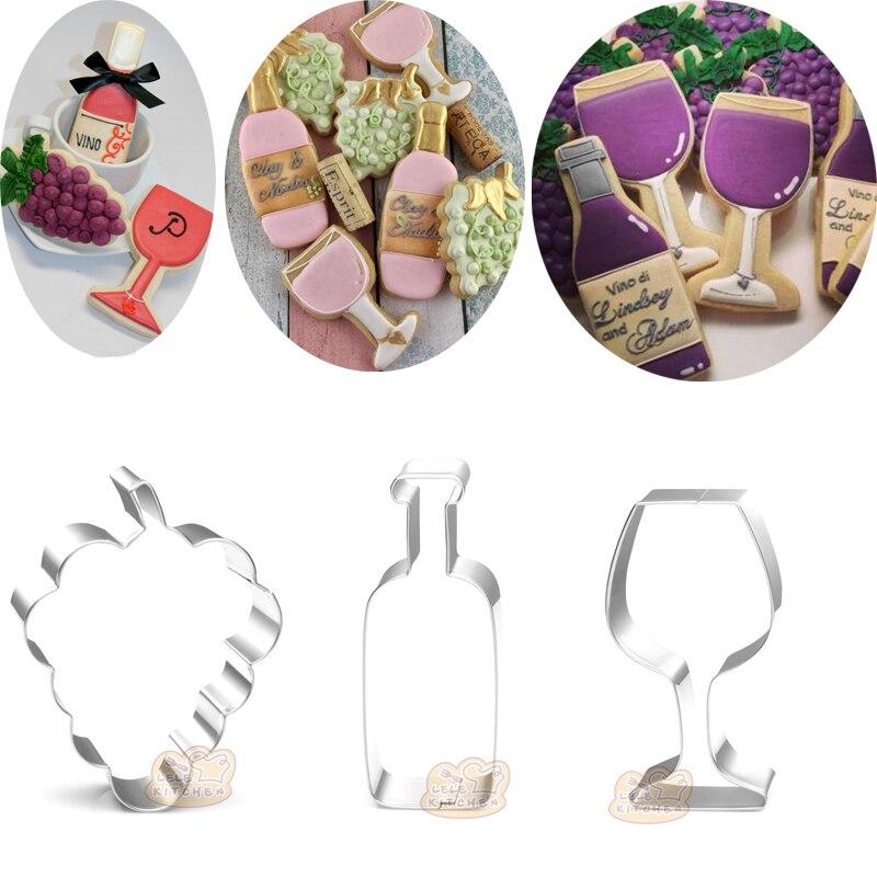 1 Uds boda hornear cóctel vino tinto de uvas cortadores de galletas Moldes de Metal caramelo galleta molde decoración de tarta fondant herramientas pastelería