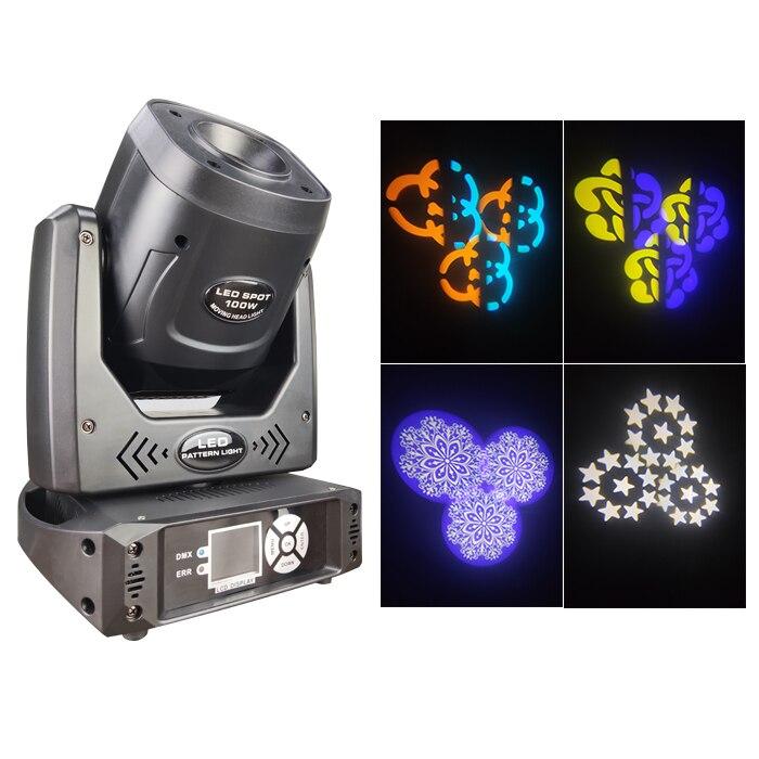 منتج جديد أضواء الإسقاط عيد الميلاد 100 واط dmx led صغير gobo العارض بقعة led تتحرك رئيس ل معدات إضاءة المسارح