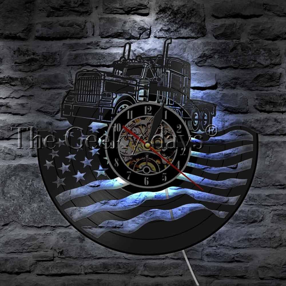 Bandeira americana com um caminhão vinil registro relógio de parede patriótico parede pendurado luz do vintage veículo decoração casa relógio meninos presente