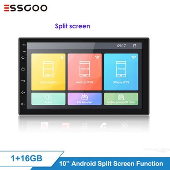 Essgoo 10'' 2din Android Autoradio Split Screen  1+16GB GPS Navigation WiFi 2 DIN 2.5D IPS Bluetooth WIFI  Car Radio
