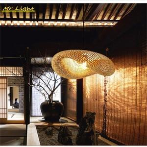 Nordic LED Pendant Lights Lighting Restaurant Hotel Bamboo Rattan Hanging Lamps Living Room Kitchen Pendant Lamp Deco Luminaries