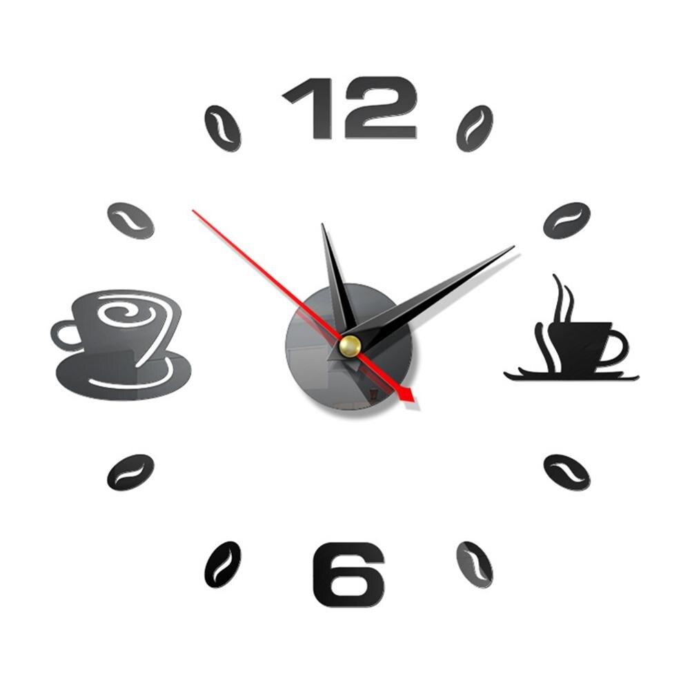 Novo 3d espelho relógio de parede diy copos de café design relógio de parede auto adesivo moderno mudo acrílico arte analógico cozinha decoração de casa