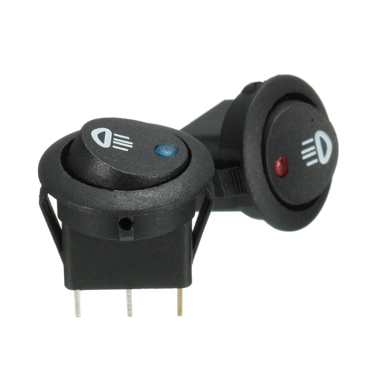 12V 20A 3Pins Car Round Toggle Rocker Switch SPST On/Off Dash Light For Car Van Illuminated LED Fog Light 23mm