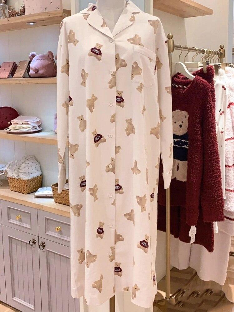 قميص نوم نسائي طويل ، كارديجان قطني ، ملابس منزلية مريحة وناعمة مطبوعة ، قميص نوم بأكمام طويلة ، قميص نوم عصري