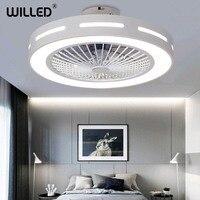 55cm Ceiling Fan Lamp With Controller Remote Control 220v White Modern Led Lights Round Light for Living Bedroom Room Lighting