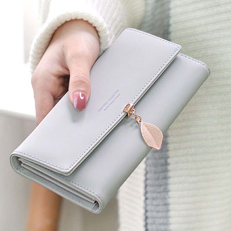 New Women Pu Leather Wallets Female Long Purses Money Bags Leaf Phone Pocket Ladies Wallet Card Hold