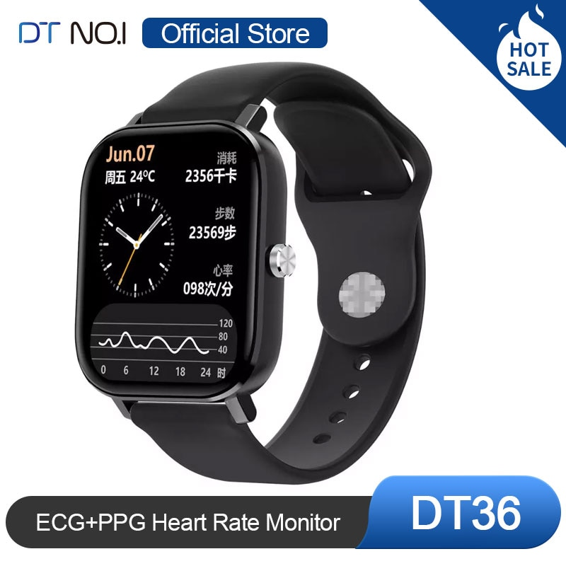 DT NO.1 DT36 1.75 inch Smart Watch HD Screen ECG+PPG Heart Rate Blood Pressure SpO2 Monitor Calculat