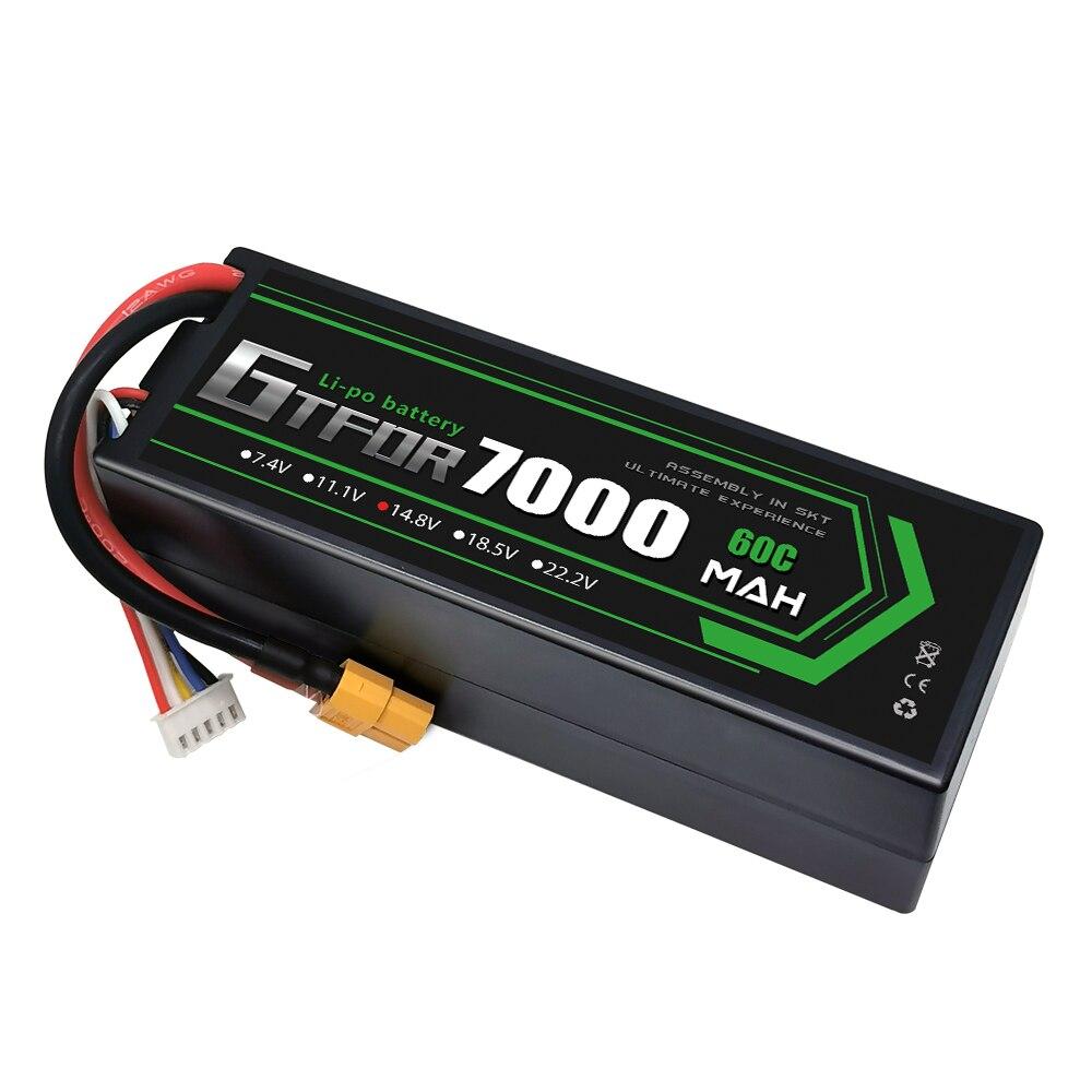 GTFDR Lipo Battery 4S 14.8V 7000MAH 60C MAX 120C HardCase T/XT60/EC5/XT90 For RC 1:8 1:10 Off-Road  Car Boat Buggy Truck  Arram enlarge