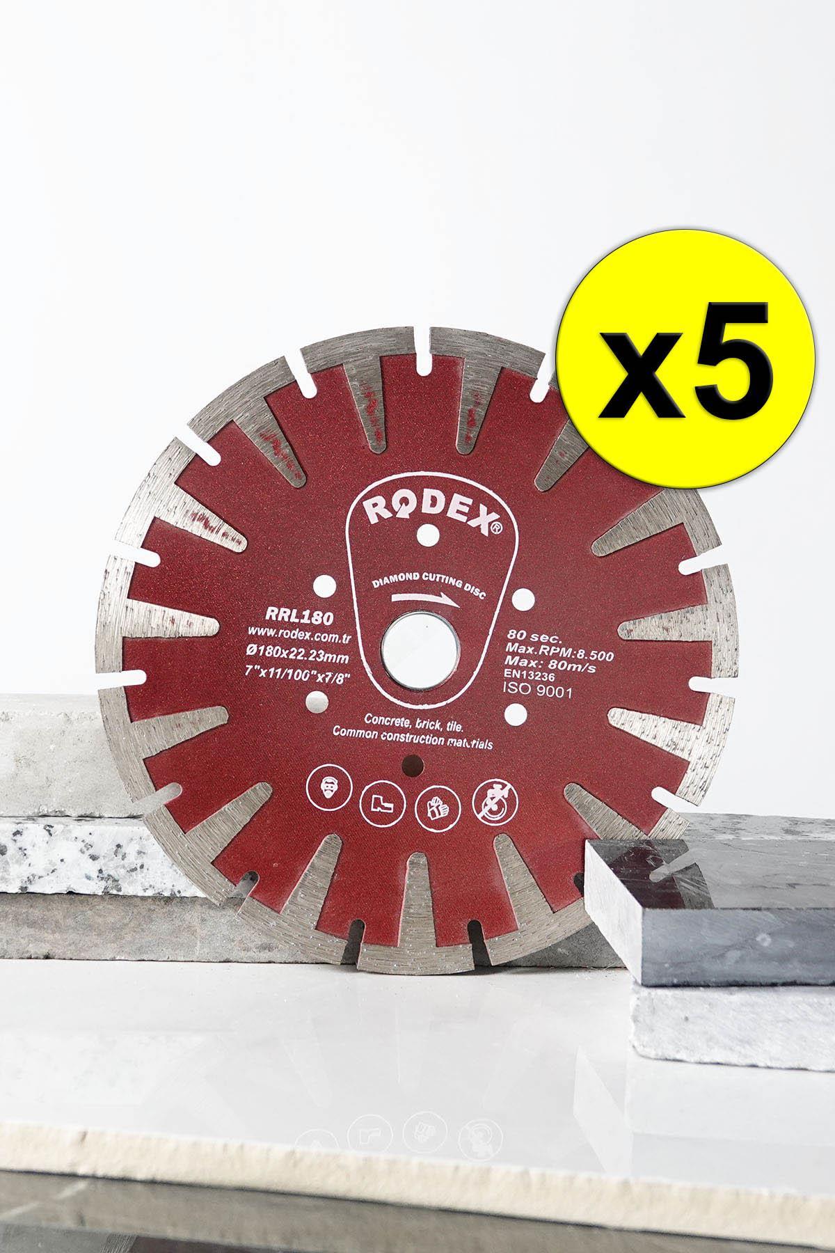 Rodex RRL180 Uzatılmış T Type Segment Turbo Diamond Cutting Disc Brick, Marble, Stone 180mm 5 Pcs