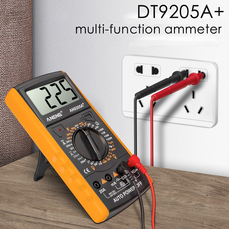 Uds DT9205A + multímetro Digital AC/DC Profesional Transistor Tester eléctrico esr NCV...