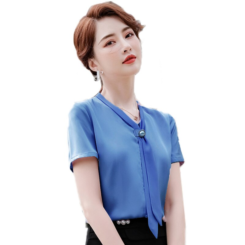Camisa de manga corta de gasa blanca para mujer, blusa de diseño...