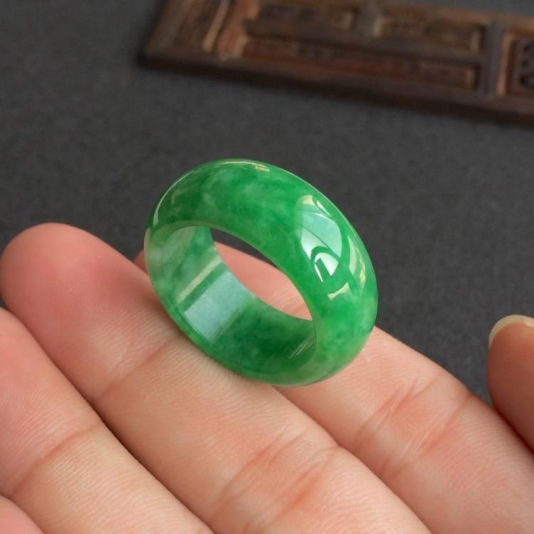 Натуральный зеленый нефрит кольцо жадеит амулет Мода китайский Шарм ювелирные изделия ручной работы ремесла удачи Подарки для женщин и мужчин