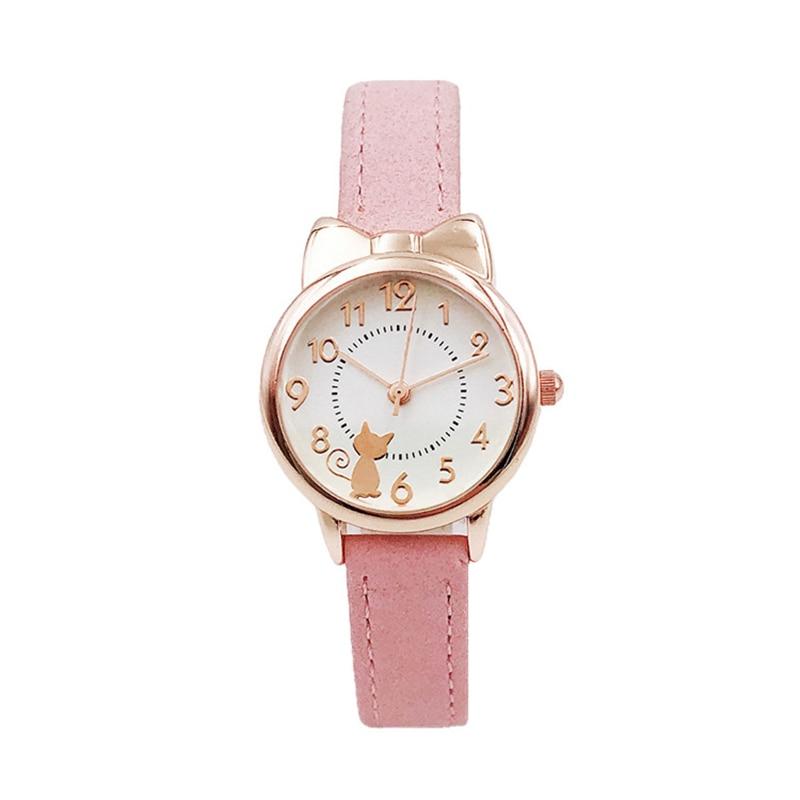 New Kids Children Watch Cat Multi-color Quartz watches clocks for Girls clock WristWatch rosette Watches Colorful