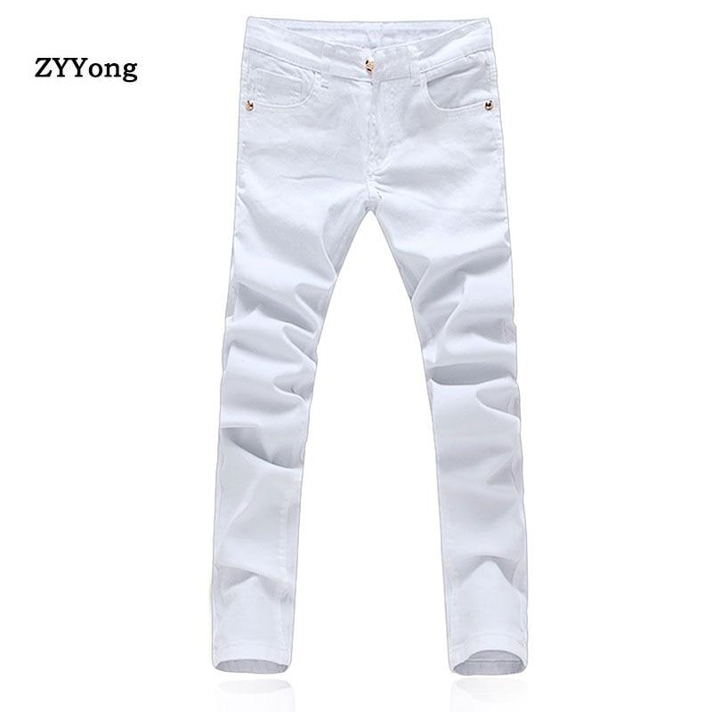 Джинсы мужские в стиле хип-хоп, однотонные повседневные брюки-карандаш, облегающие уличные джинсы для студентов, белые, 2020