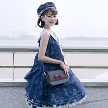 Naval wind LO JK uniform lolita bag student PU purse cute bowknot embroidery kawaii bag messenger ita bag loli cosplay 2020