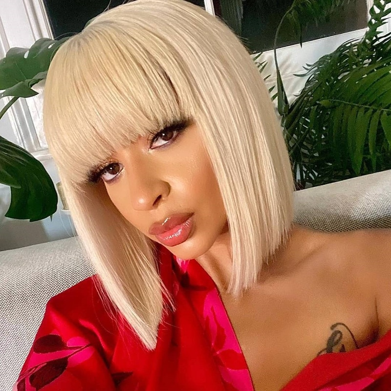 Short Straight Bob Wigs With Bangs Remy Brazilian Human Hair for black women No Lace Yellow Color Glueless Full Machine Made