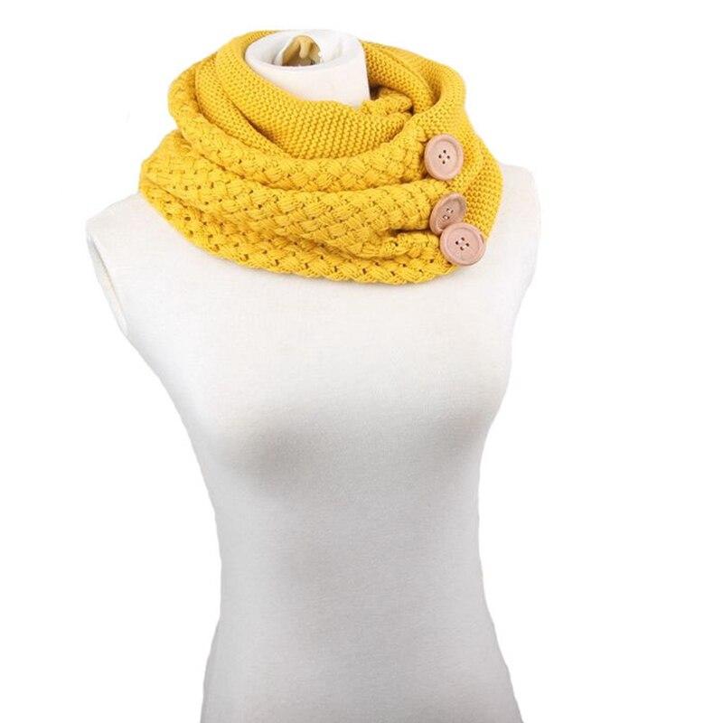 Теплый шарф-кольцо, вязаный уличный стиль, теплый уличный осенне-зимний женский утепленный хлопковый шарф с украшением, однотонная шерстян...
