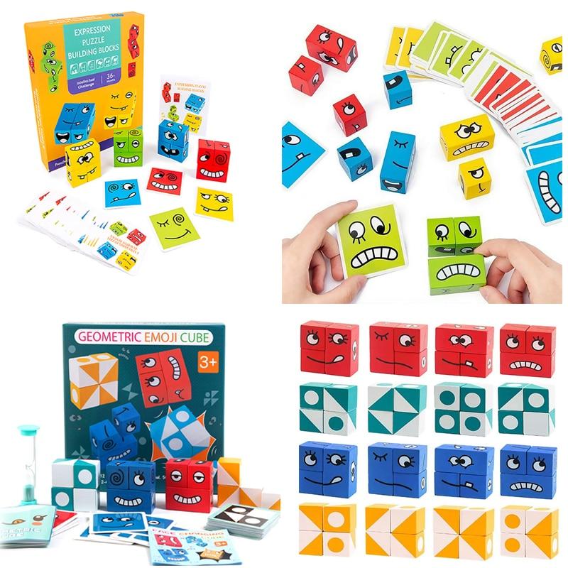 Expressão de madeira quebra-cabeças brinquedo rosto mudando lógica pensamento formação blocos de construção lógica pensamento montessori educação brinquedos