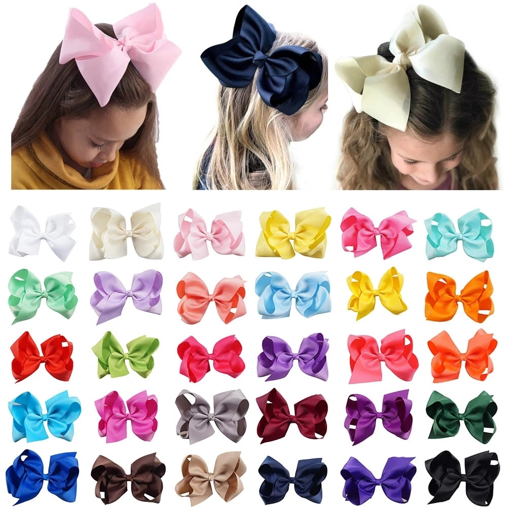 6 inch Big Grosgrain Ribbon Solid Hair Bows With Clips Girls Kids Headwear Boutique Accessories