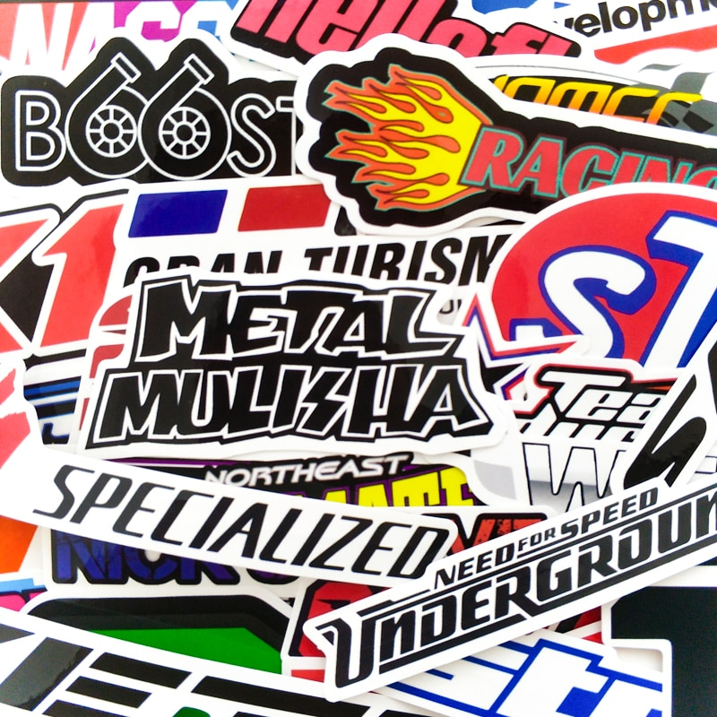 Pegatinas de coches de carreras 100 Uds., pegatina a prueba de agua DIY, casco de carreras de Motocross, monopatín bicicleta portátil de PVC JDM pegatina para maleta