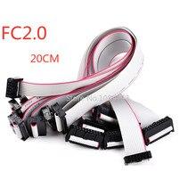 1 Uds Cable plano gris de datos 2,0 MM paso FC-6/8/10/14/16/20/40/50 PIN 20CM JTAG ISP CABLE de descarga para DC3 encabezado de caja IDC