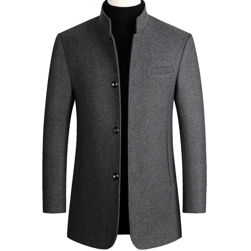 الصوف معطف الرجال القطن المخملية سميكة الصوف معطف الخريف الشتاء عارضة طويلة مزيج معطف رمادي طويل الأكمام معطف الذكور حجم كبير 3xl