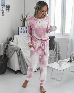 Women's Pajama Suits Casual Autumn Set Print Tie-dye Long Sleeve Shirt Tops And Loose Pants Tracksuit Two Piece Set Outfit 2020