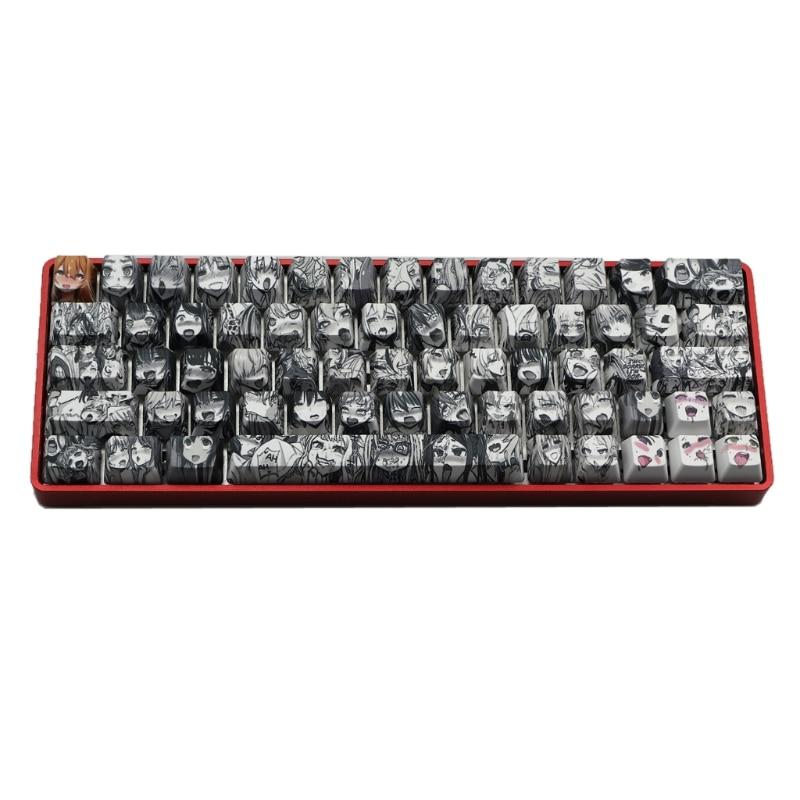 PBT 71 مفتاح Ahegao Keycap صبغ التسامي OEM الشخصي انمي ياباني Keycap لالكرز Gateron Kailh التبديل GK61 GK64 HCCY