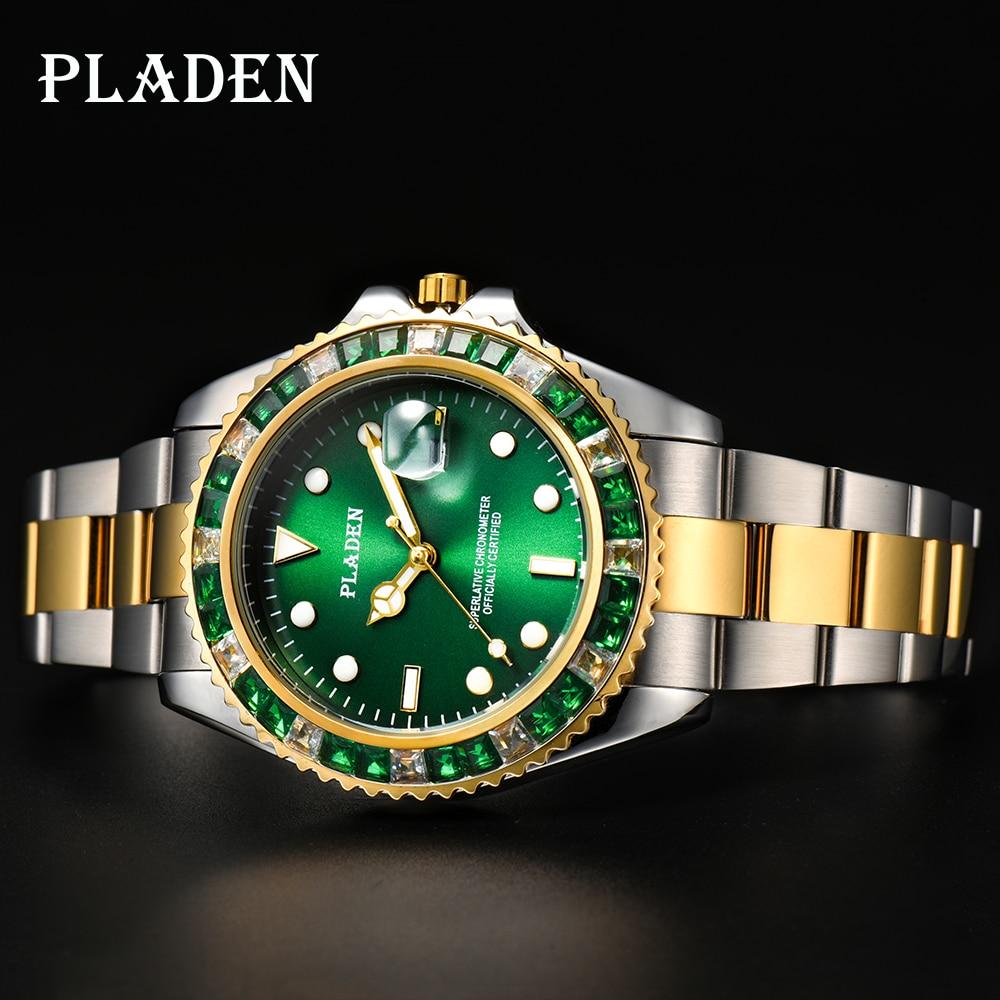 PLADEN Men Watch Luxury Green Square Diamond Military Sapphire European Reloj Shockproof Man Valenti