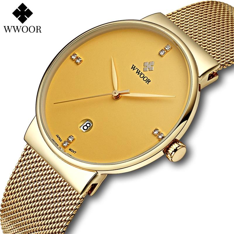 ساعة للرجال من WWOOR ساعة ذهبية عصرية من الفولاذ المقاوم للصدأ ساعات يد للرجال فاخرة وبسيطة مرصعة بالألماس ساعات يد كوارتز للرجال