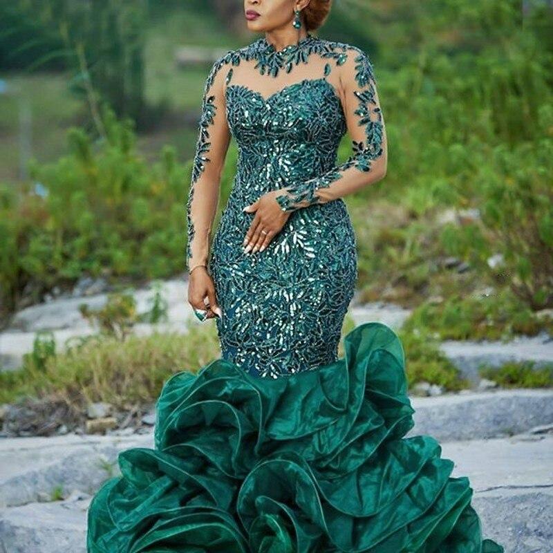 Abendkleider-فستان سهرة طويل مع ترتر وياقة واقفة ، لون أخضر