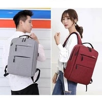 new solid color retro style business backpack men and women middle school students simple double zipper computer backpack