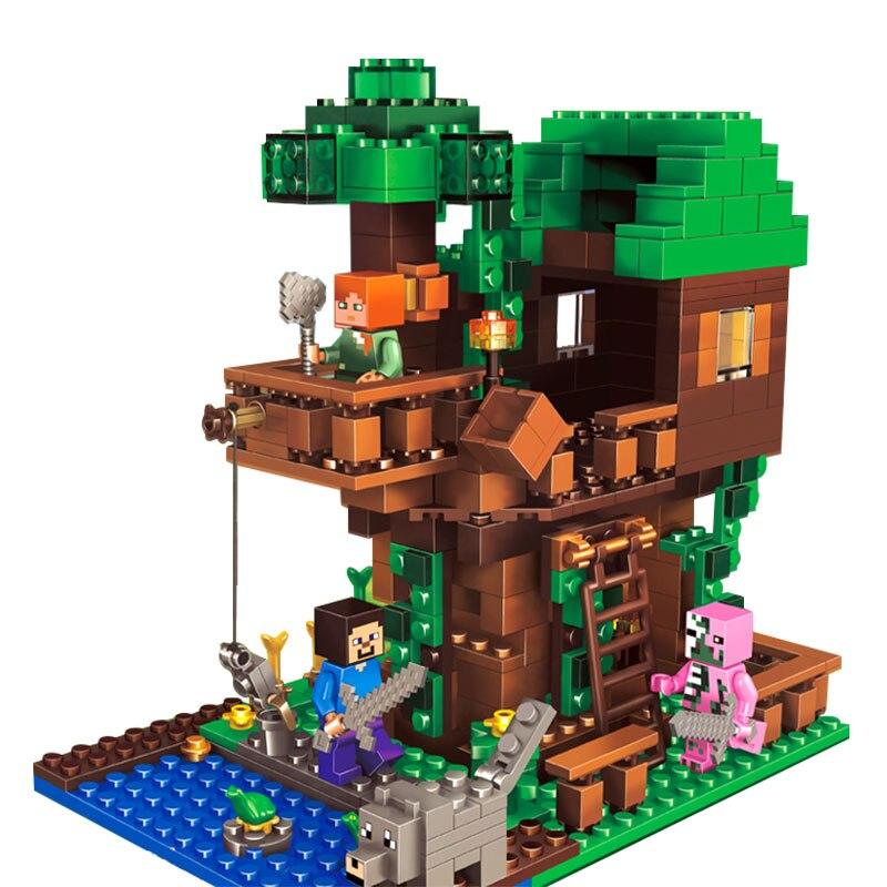 Pequeños juegos de Casa de bloques de construcción con figuras de acción de Alex Steve compatibles con My World Minecraft inglys juguetes para niños