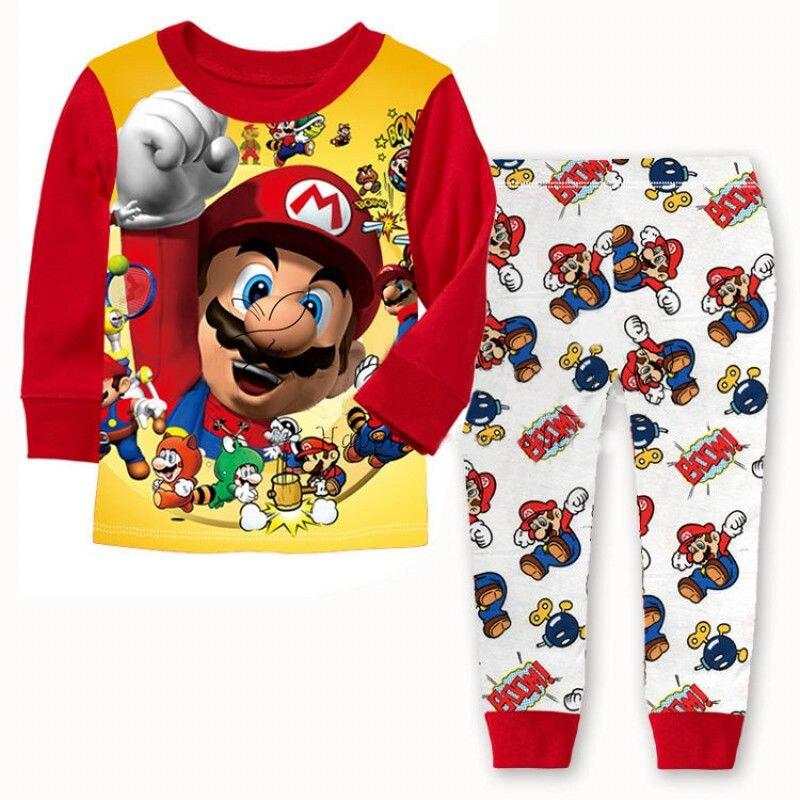 Super Hero Mario Baby Boys Pajamas Set Toddler Kid Nightwear Sleepwear Pyjamas Clothes Set Baby Fash