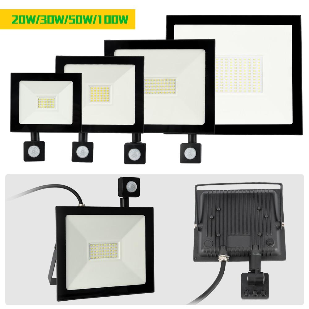 Led Flood Light 20W 30W 50W 100W AC220V PIR Motion Sensor Adjustable Wall Lamp Waterproof Outdoor Searching Lamp Spotlight