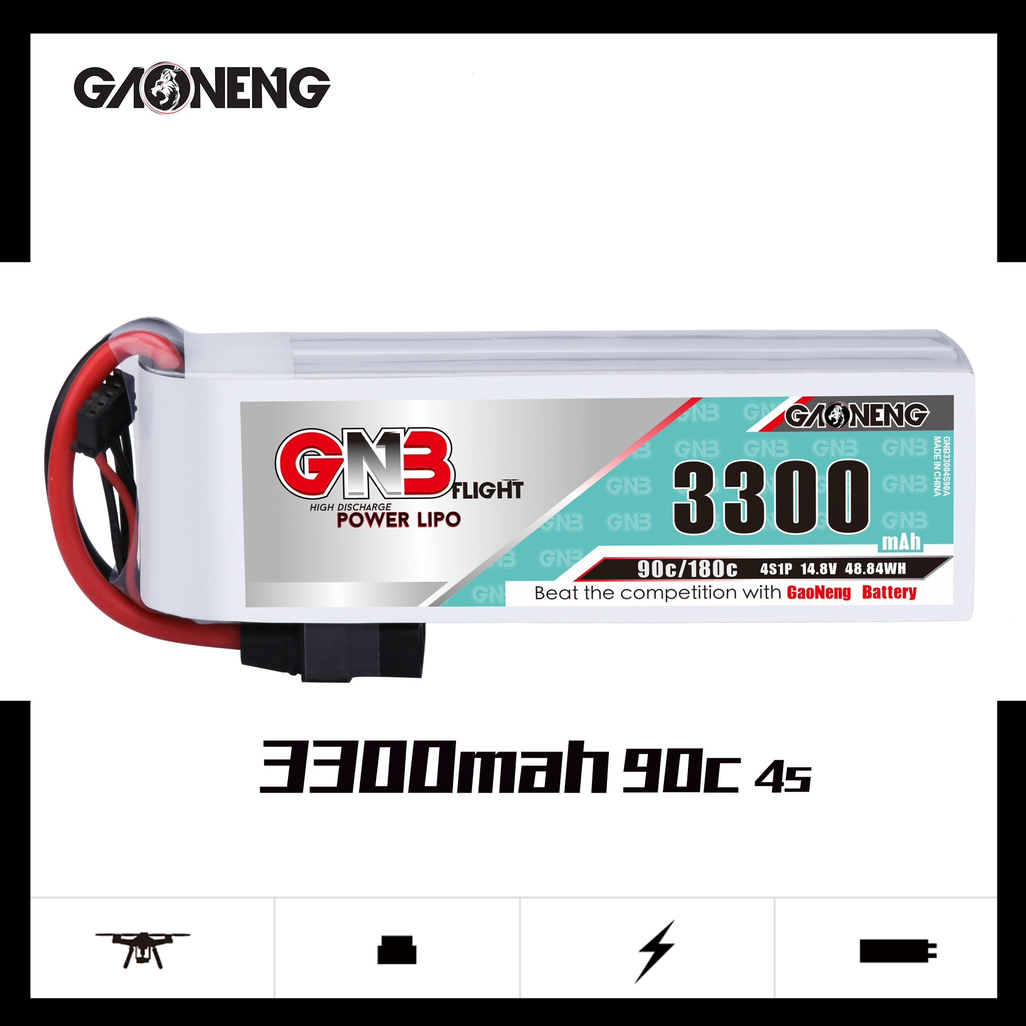 Gaoneng GNB 3300mAh 4S 90C 14.8V Lipo Battery XT60 XT90 T Plug Fixed Wing Vehicle Model Ship High Performance Lithium Battery