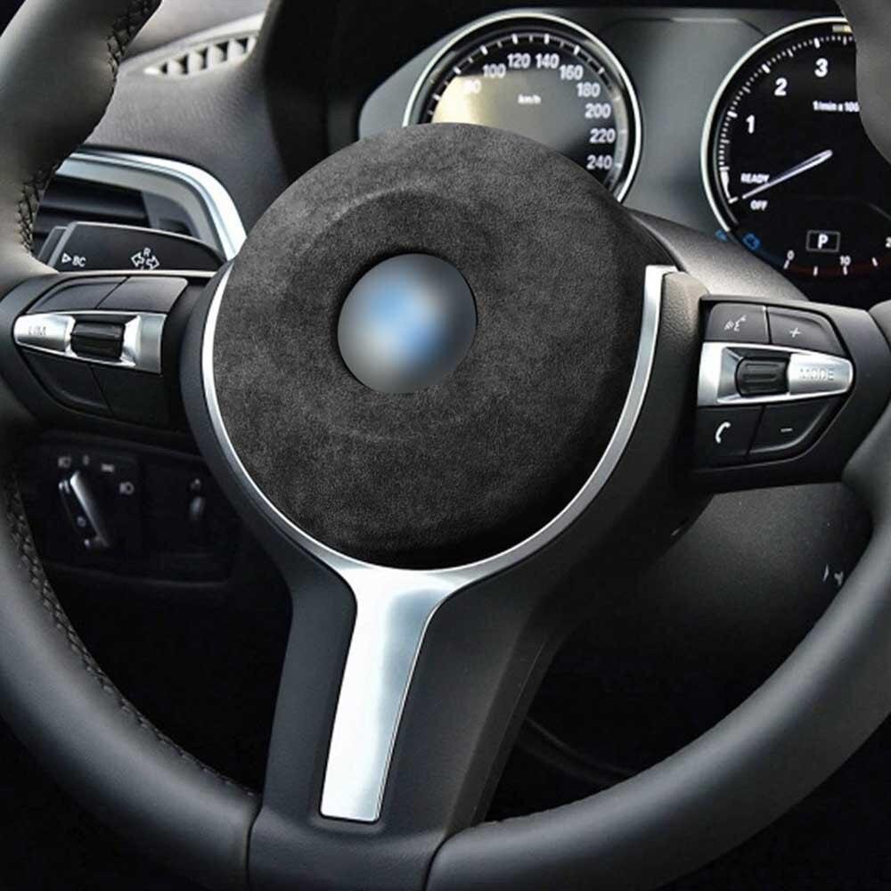 Автомобильная подушка безопасности на руль, черно-серого цвета, новинка, ПВХ кожа + замша, высокое качество