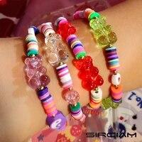 new y2k candy cartoon bear rainbow clay string bead bracelet for women heart gossip smiley evil eye soft polymer beaded jewelry