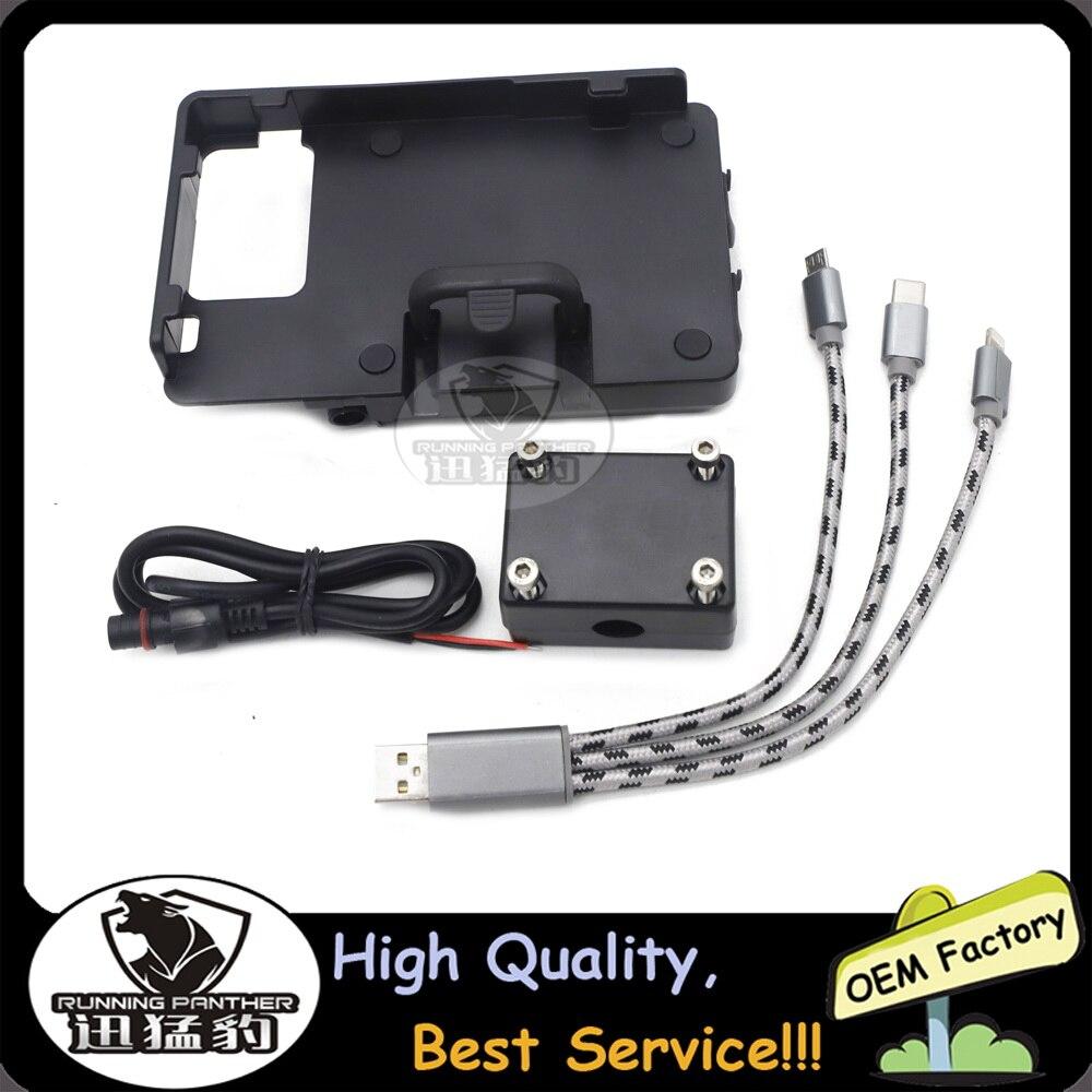 Cargador USB de motocicleta GS para teléfono móvil, soporte de iPhone para todas las bicicletas de motocicleta con barra de 12MM