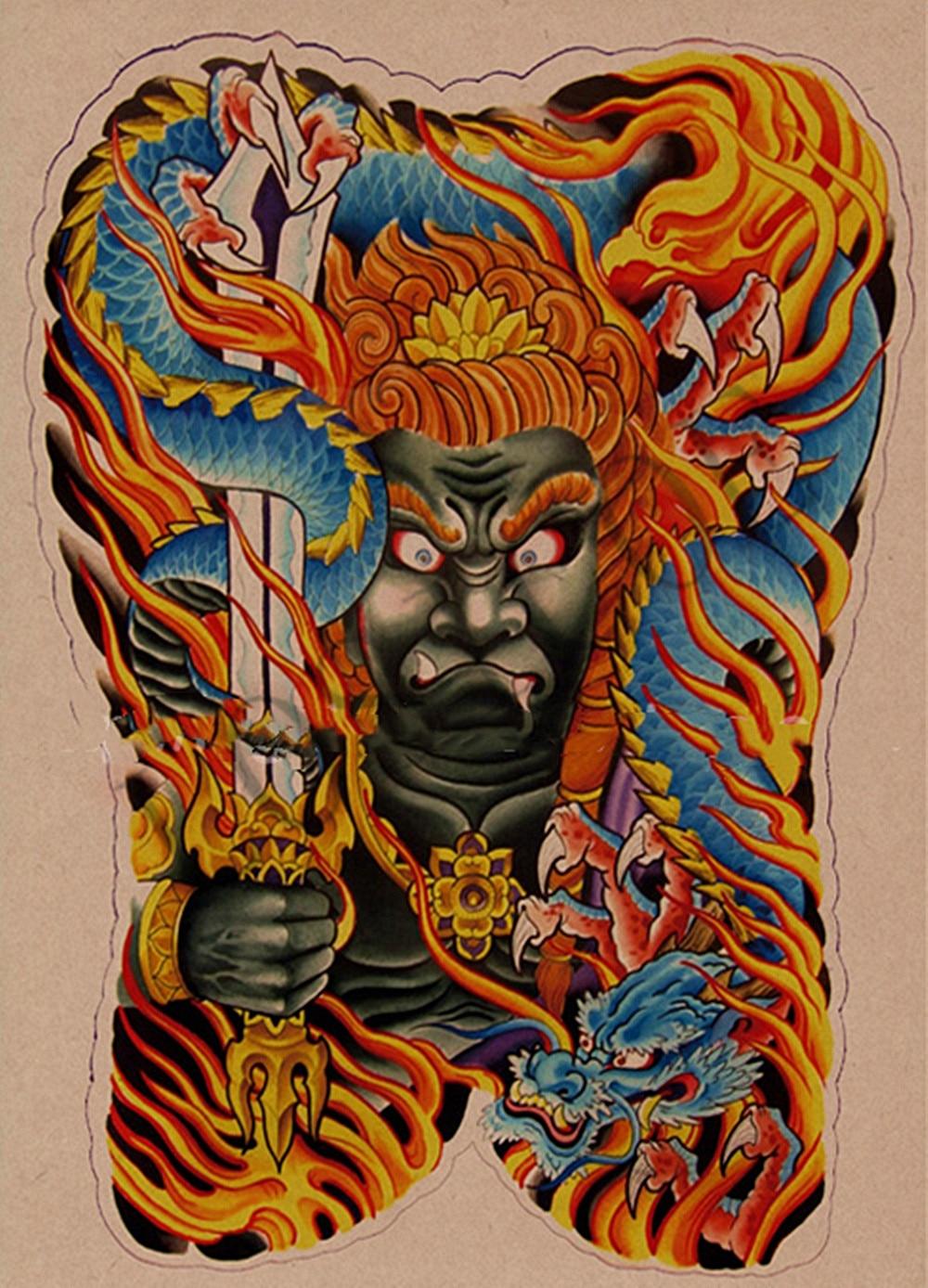 Pósteres de Arte de tatuaje humano Retro papel Kraft impresión arte pintura pegatinas de pared arte de pared Estilo Vintage tatuaje estudio decoración del hogar B2