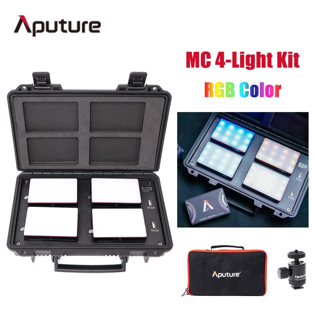 Aputure AL-MC 4-Light طقم سفر 4 قطعة MC Led ضوء RGB اللون 3200K-6500K التصوير ضوء مع صندوق شحن لاسلكي محمول