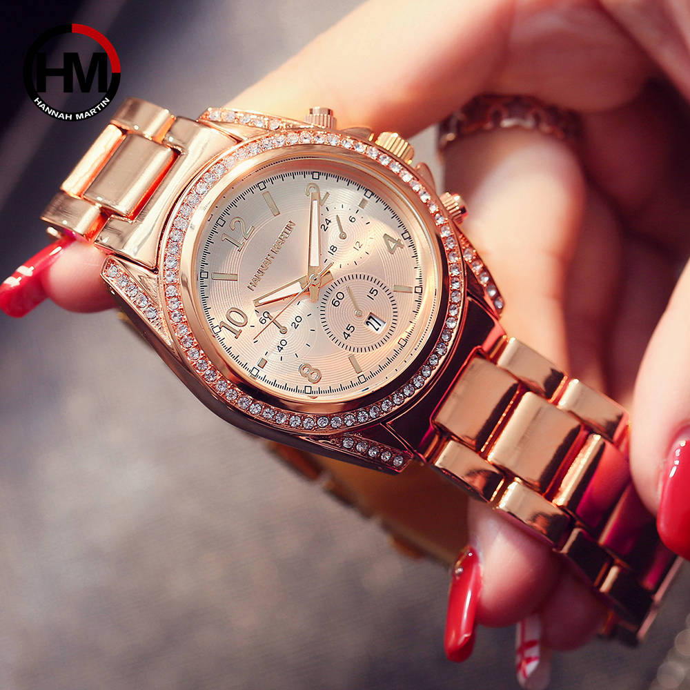 Wristwatches Calendar Waterproof Fashion Watches for Women 2020 Women's Watches Luxury Diamond Rhinestones Triple Dials Ladies enlarge