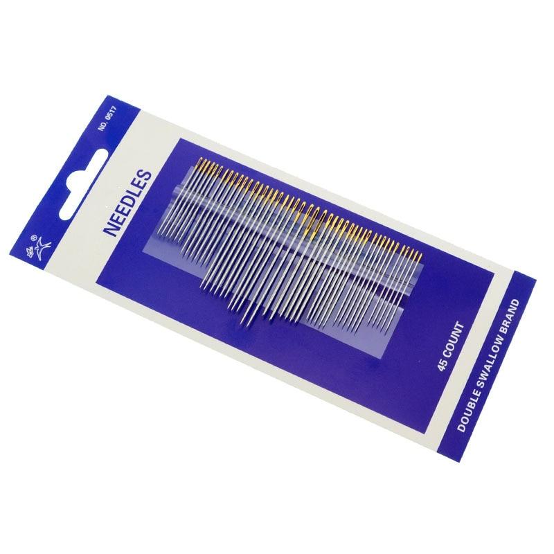 45Pcs Utility Hand Nähen Nadeln Golden eye edelstahl Nähen Nadeln Haushalt Werkzeuge DIY Sortierte größe Nadel Werkzeuge