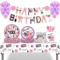 girls make up happy birthday party decorations lipstick eye shadow disposable tableware sets dinner dessert plates tablecloth